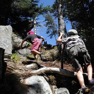 Scrambling up Long Point Beach trail